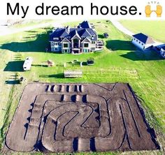 My dream home! Complete with motocross track! Dirt Bike Track, Rc Track, Dirt Bike Girl, Dirt Biking, Womens Dirt Bike Gear, Dirt Bike Couple, Pink Dirt Bike, Fille Et Dirt Bike, Dirt Bike Quotes