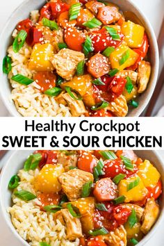 Easy, healthy Crockpot Sweet and Sour Chicken made with simple ingredients like juicy chicken, bell peppers, and pineapple. Quick, easy and even better than takeout or PF Chang's! slowcooker crockpot easydinnerrecipes wellplated via 189503096808303614 Vegetarian Crockpot Recipes, Beef Recipes, Health Slow Cooker Recipes, Healthy Crockpot Chicken Recipes, Healthy Slow Cooker, Healthy Chicken, Recipies, Comidas Fitness, Sweet Sour Chicken