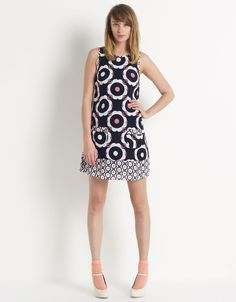 Navy and pink retro dress