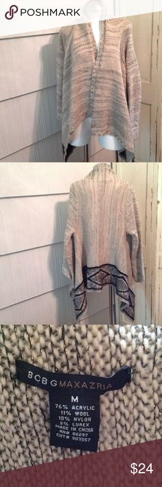 BCBGMaxAzria Sweater Cozy flyaway cardigan.  Used but in good condition.  Shimmers just beautifully.  No trades. BCBGMaxAzria Sweaters Cardigans