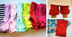 Trendy Ruffle Shorts in 7 colors –need these for Gemma under her dresses!