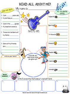Music All About Me Printable