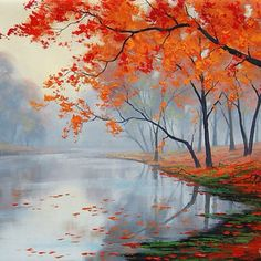 Fall oil painting lake paintings contemporary art impressionist landscape tree painting - Autumn oil painting lake painting contemporary by GerckenGallery - Lake Painting, Autumn Painting, Painting Prints, Wall Art Prints, Painting Art, Painting Trees, Impressionist Landscape, Watercolor Landscape, Landscape Art