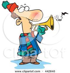 Royalty-Free (RF) Clip Art Illustration of a Cartoon Winter Man Playing A Horn…