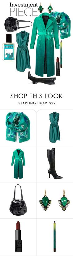 """Lady in Emerald"" by faye2441 ❤ liked on Polyvore featuring Alexander McQueen, Lanvin, Burberry, CL by Chinese Laundry, Issey Miyake, Nak Armstrong, NARS Cosmetics and MAC Cosmetics"