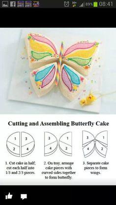 Pastel con forma de mariposa