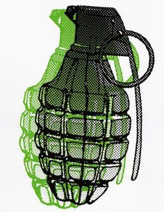 Grenade Halftone Double Image Vintage Iron On by VintageIronOn
