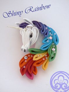 d3a5f1e7c Cotton brooch Unicorn-shaped, wih two models: Shiny Rainbow, with bright  rainbow