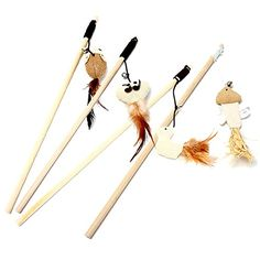 Zeroyoyo Wooden Funny Cat stick Wooden Linen Cloth Mouse Head Fish Cat Toys With a Bell Funny Cat Pole