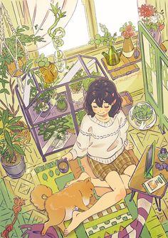 Japon Illustration, Cute Illustration, Pretty Art, Cute Art, Aesthetic Art, Aesthetic Anime, Cartoon Art Styles, Kawaii Art, Animes Wallpapers