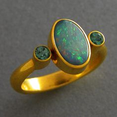 18K boulder opal and green tourmaline ring