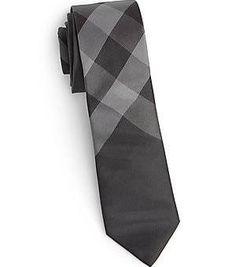 Burberry Boy's Silk Check Tie - Charcoal Check -