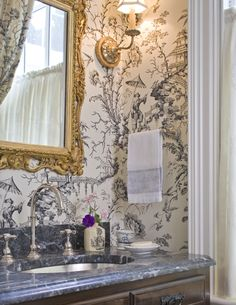 English Wallpapered powder room
