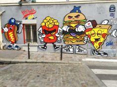 #iloveparis #call666 by @JAEKELDIABLO #jaekeeldiablo #pizza #burger #frites #hotdog #666 #streetart #graffiti ♥♥♥