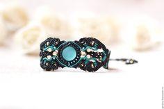"""Купить Авторский браслет """"Элнели"""" - авторская ручная работа, черный, плетеный браслет, макраме украшения"""