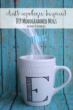 Anthropologie-Inspired DIY Monogrammed Mugs - <3 these from @Laura Dukes and Duchesses -- These would be great teacher gifts for Valentine's day!