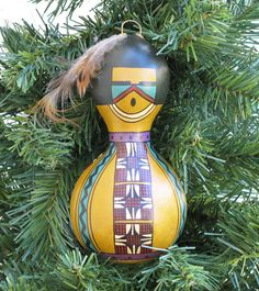 Southwestern Hand-painted Bottle Gourd Ornament #214