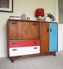 Sweet 60s Retro Bookcase Sideboard with Display Cabinet and