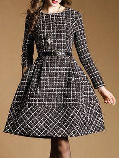 Black Long Sleeve Checkered/Plaid Mini Dress