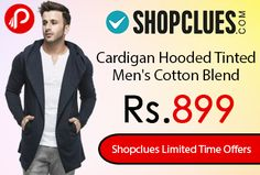 Shopclues #LimitedTimeOffers is offering Cardigan Hooded Tinted Men's Cotton Blend at Rs.899. Look stylish and stay warm by wearing this comfortable cardigan from Tinted. As the winter season is approaching, gear up your wardrobe with this trendy cardigan by Tinted Collection by Marks & Spencer. For a complete ensemble team it up with a shirt, a pair of jeans or trousers and sneakers.   http://www.paisebachaoindia.com/cardigan-hooded-tinted-mens-cotton-blend-at-rs-899-only-shopclues/