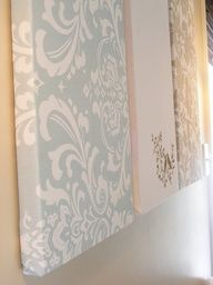 """Really big DIY wall art using styrofoam and fabric. Also on the page is a tutorial to make your own painting using styrofoam, canvas drop cloth and random paint. Love the idea after weve painted a few rooms, to use the different colors to create a gigantic painting that ties the rooms together."""" data-componentType=""""MODAL_PIN"""