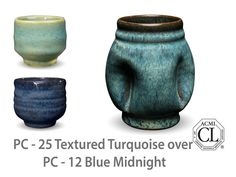 Blue Midnight is a glossy black glaze that breaks into blue highlights where thick. This glaze is good for textured work and also layers well with other Potter's Choice Glazes.  Due to the powdered nature of the materials involved with the dry-mix dipping buckets of this product, their respective health information and labels differ from the brushing glazes.