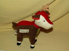 STARBUCKS REINDEER PLUSH DEER PLAID CORDUROY 2008 STUFFED ANIMAL ANTLERS COFFEE #Starbucks