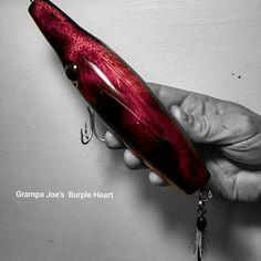 Natural African Purple Heart Plug...Grampa Joe's Lure Co.
