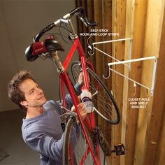 DIY garage storage tips and hints Is your garage stuffed to the gills with stuff? Nearly everyone's garage can use some organizing and we've got some simple and clever tips to help you do it! Bike Storage Garage Diy, Garage Storage Solutions, Garage Shed, Garage House, Garage Workshop, Diy Storage, Storage Ideas, Garage Bar, Storage Systems