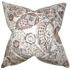 """The Pillow Collection Heidrun Floral Throw Pillow Color: Brown, Size: 24"""" x 24"""""""