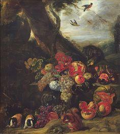 Obst und Tiere von Abraham Brueghel Fruit Animals, Oil On Canvas, Canvas Prints, Poster Size Prints, Squirrel, Photographic Prints, Fine Art Prints, Pomegranate, Painting