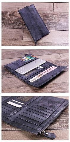 Genuine Leather Wallet Money Purse Card Holders Hand Wallet Dimensions: Length: 18.5 cm; Height: 10cm Color: Grey/Purple/Brown