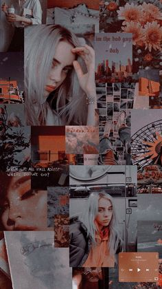 Wallpaper Billie Eilish Aesthetic This is a wallpaper . Aesthetic Indie, Orange Aesthetic, Aesthetic Collage, Billie Eilish, Aesthetic Pastel Wallpaper, Aesthetic Wallpapers, Homescreen Wallpaper, Wallpaper Lockscreen, Music Collage