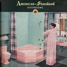 Saw a lot of bathrooms in this color growing up in the 60s. My mother still has her pink bathtub.