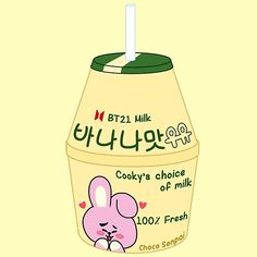 'Cooky Banana Milk Sticker by ChocoSenpai Stickers Kawaii, Cute Stickers, Aesthetic Drawing, Aesthetic Collage, Music Aesthetic, Kpop Aesthetic, Kawaii Wallpaper, Bts Wallpaper, Banana Milk Korean