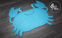 Crab Rug. Hand Crocheted Made to Order. by CozyHat on Etsy
