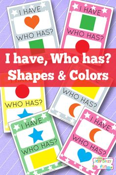 have Who Has Shapes and Colors I have Who Has? Shapes and Colors - Learning Games for KidsI have Who Has? Shapes and Colors - Learning Games for Kids Preschool Colors, Preschool Lessons, Preschool Classroom, Kindergarten Math, Learning Activities, Preschool Activities, Preschool Transitions, Games For Learning English, Learning Games For Kids