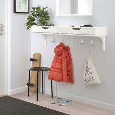"EKBY ALEX Shelf with drawers, white, 46 7/8x11 3/8"" - IKEA Wall Shelving Systems, Open Shelving, Shelving Units, Wall Mounted Desk, Ikea Wall Desk, Drawer Shelves, Room Shelves, Wall Shelf With Drawer, Home Decor"