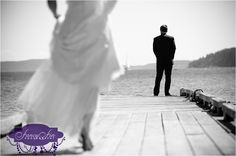 """""""First Look"""" at the end of the dock :) Wedding photographs at Rosario Resort on Orcas Island in the San Juans"""