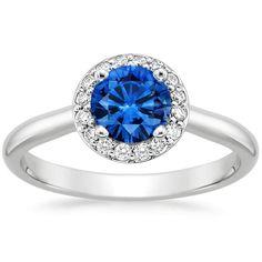 Platinum Sapphire Halo Diamond Ring, top view