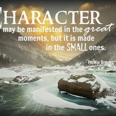 """""""Character may be manifested in the great moments, but it is made in the small ones."""" - Phillip Brooks   #UAMP #quoteoftheday #quoteofthenight #character #greatmoments #instaquote #inspirationalquotes #motivationalquote #motivation #inspire #truth #wordstoliveby #winter #winterphotography"""