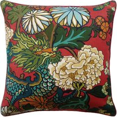 Schumacher Chiang Mai Dragon Designer Pillow Cover in Lacquer, Red Chinoiserie Pillow Covers Weaving Process, Hand Weaving, Pillow Cover Design, Pillow Covers, Velvet Pillows, Throw Pillows, Chinoiserie Motifs, Down Feather, Designer Pillow