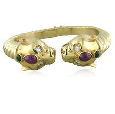 Maz 14K Gold Emerald Ruby Diamond Cuff Bracelet