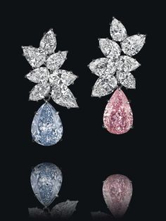 7. Pair of Fancy Vivid Blue & Fancy Vivid Pink Diamond Earrings, by Bulgari – $15,820,731 Christie's Geneva – November 11, 2014 Laurence Graff purchased this pair of Fancy Vivid Blue (6.95 carats, SI2 Type IIb) and Fancy Vivid Pink (6.79 carats, VS2 Type IIa) diamond ear pendants, by Bulgari. (Photo courtesy of Christie's)
