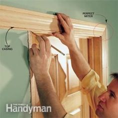 Interior trim work basics: All the trim basics, start to finish, plus a clever way to get miters tight. Door Molding, Moldings And Trim, Crown Molding, Moulding, The Family Handyman, Work Basics, Interior Door Trim, Finish Carpentry, Carpentry Tools