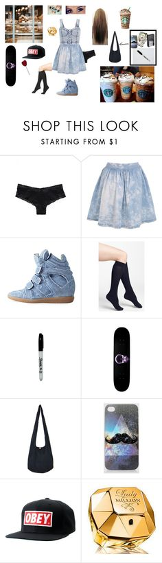 """""""Chapitre 1 tenue Ally"""" by mariecaplain ❤ liked on Polyvore featuring Victoria's Secret, Miss Selfridge, Isabel Marant, DKNY, American Apparel, Vision, Zippo, OBEY Clothing and Paco Rabanne"""