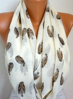Owls  Scarf Infinity Scarf Shawl Circle Scarf Loop by fatwoman, $19.00