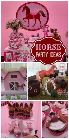 A horse themed girl birthday party in pink with decorations, photo props and fun treats!  See more party planning ideas at CatchMyParty.com!