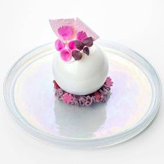 Blown sugar with berry sorbet - sweet & sour beets - lavender espuma.