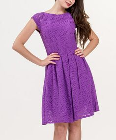 Another great find on #zulily! Dewberry Eyelet Cap-Sleeve Dress - Women by Amelia #zulilyfinds